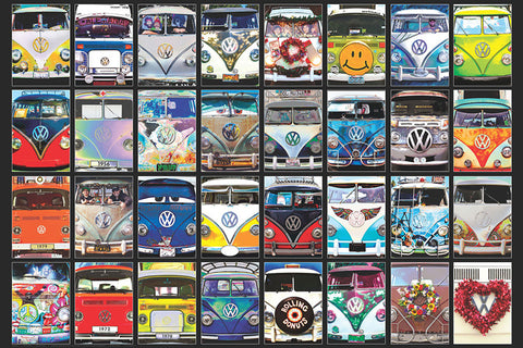 "Volkswagen Bus ""Cool Faces"" (18 Front Ends) Automobile Collage Poster - Eurographics Inc."