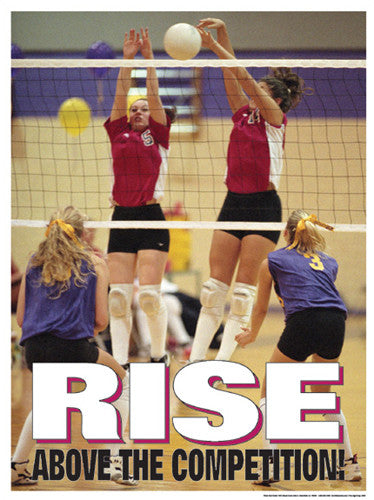 "High School Volleyball ""Rise Above"" Motivational Poster - Fitnus Corp."