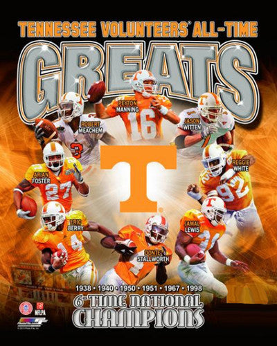 Tennessee Vols Football All-Time Greats (8 Legends, 6 Championships) Premium Poster