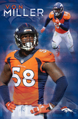"Von Miller ""Superstar"" Denver Broncos Official NFL Football Poster - Trends International 2016"