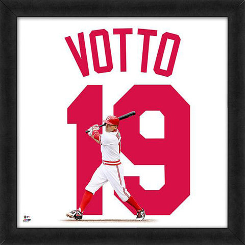 "Joey Votto ""Number 19"" Cincinnati Reds MLB FRAMED 20x20 UNIFRAME PRINT - Photofile"