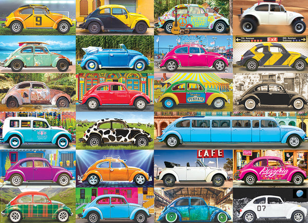 "Volkswagen Beetles ""Gone Places"" (23 Custom Bugs) Automobile Car Poster - Eurographics Inc."