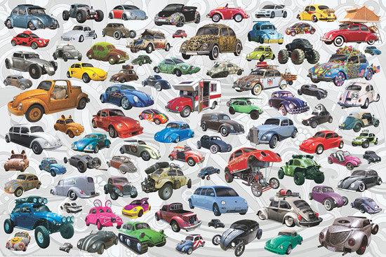 "Volkswagen Beetles ""85 Bugs"" Automobile Car Collage Poster - Eurographics Inc."