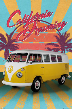"Volkswagen Camper ""California Dreaming"" Classic Beach Bus Cool Car Poster - GB Eye"