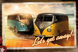 "Volkswagen Campers ""Let's Get Away"" Classic Beach Buses Cool Cars Poster - GB Eye"