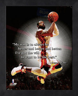 "Dwyane Wade ""The Will"" Miami Heat FRAMED 16x20 PRO QUOTES PRINT - Photofile"