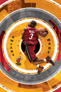 "Dwyane Wade ""In The Zone"" Miami Heat NBA Action Poster - Costacos 2004"
