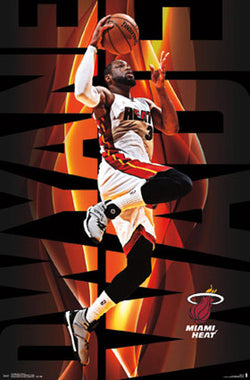 "Dwyane Wade ""On Fire"" Miami Heat NBA Basketball Action Poster - Trends International"