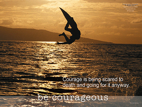 "Wakeboarding ""Courageous"" Motivational Inspirational Poster - Jaguar Inc."