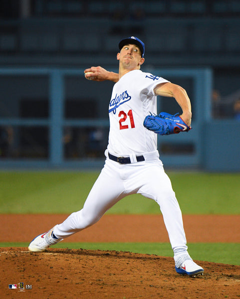 "Walker Buehler ""Lights Out"" Los Angeles Dodgers Premium 16x20 MLB Baseball Poster Print- Highland Mint"