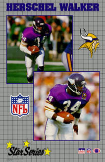 "Herschel Walker ""Star Series"" Minnesota Vikings Poster - Starline Inc. 1990"