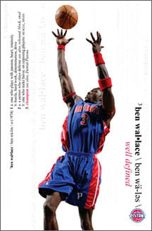 "Ben Wallace ""Well Defined"" Detroit Pistons NBA Action Poster - Costacos 2006"