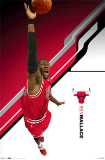 "Ben Wallace ""Big Swat"" Chicago Bulls NBA Action Poster - Costacos 2007"