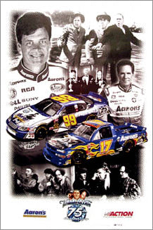 Darrell and Michael Waltrip The Three Stooges 75th Anniversary Tribute NASCAR Poster - Action 2003