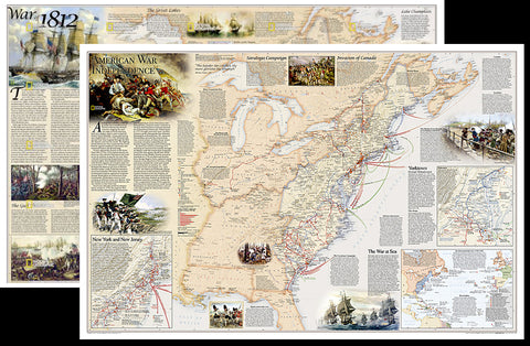 American Revolutionary War/War of 1812 National Geographic 24x36 History Wall Map 2-Sided Poster - NG Maps