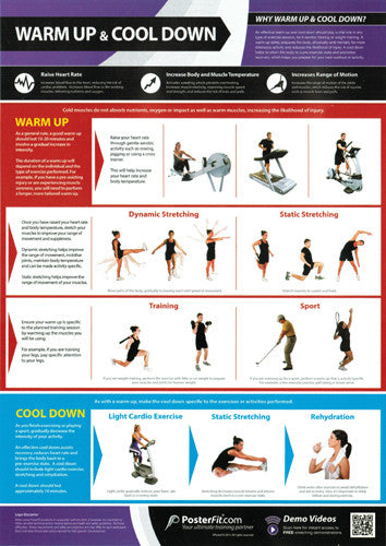 Warm-Up and Cool-Down Professional Fitness Training Wall Chart Poster (w/QR Code) - PosterFit