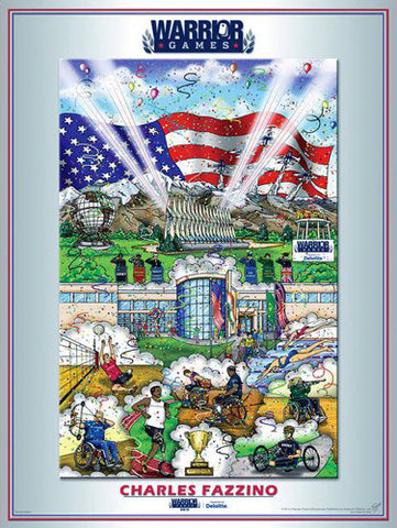 US Military Warrior Games 2013 Official Event Poster by Charles Fazzino