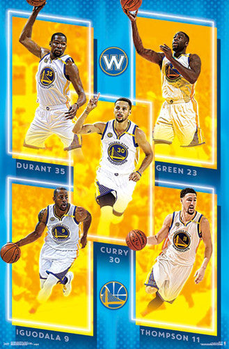 "Golden State Warriors ""Big Five"" Poster (Durant, Curry, Thompson, Iguodala, Green) - Trends 2016-17"