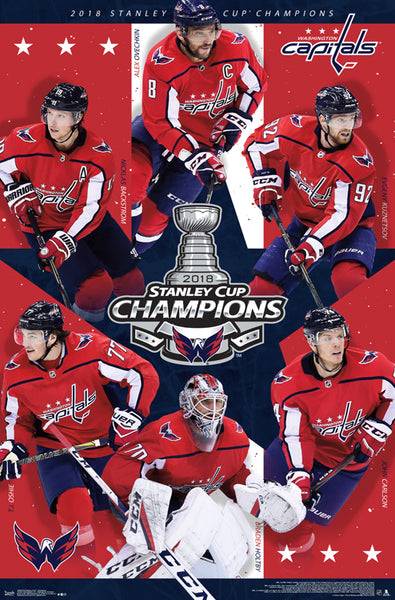 *SHIPS 6/15* Washington Capitals 2018 Stanley Cup Champions 6-Player Commemorative Poster - Trends Int'l.