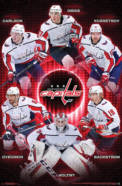 "Washington Capitals ""Six Stars"" (Ovechkin, Holtby, Backstrom, Carlson, Oshie, Kuznetsov) Poster - Trends 2018"