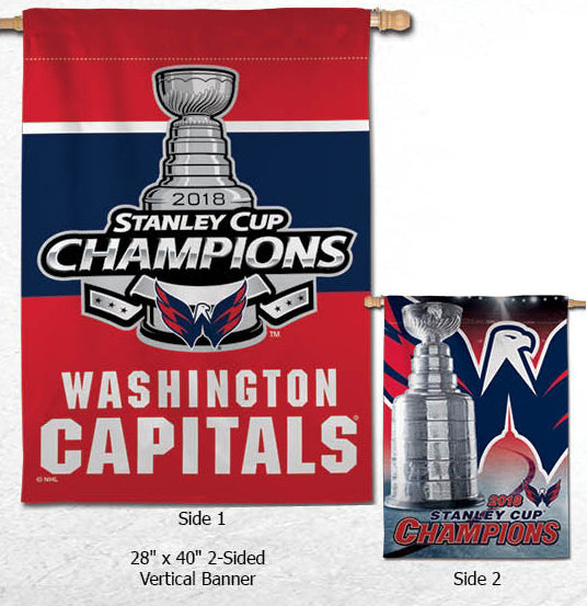 *SHIPS 6/16* Washington Capitals 2018 NHL Stanley Cup Champions Commemorative Banner Flag (28x40 2-Sided)