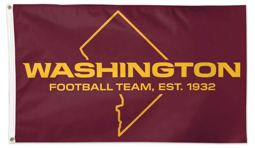 "Washington Football Team Official NFL Football 3'x5' DELUXE-EDITION Flag (""DC-Style"") - Wincraft Inc."