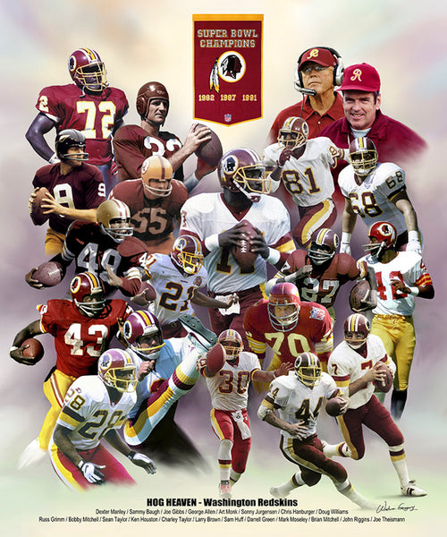 "Washington Redskins ""Hog Heaven"" (20 Legends, 3 Championships) Art Poster Print"