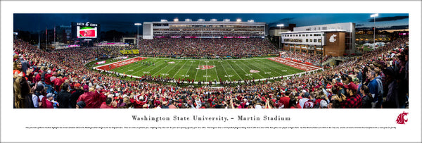 Washington State Cougars Football Martin Stadium Game Night Panoramic Poster Print - Blakeway Worldwide
