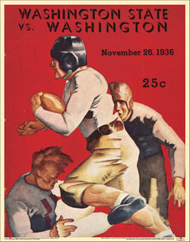 Washington Huskies Football 1936 vs. Washington State Vintage Poster Print - Asgard Press
