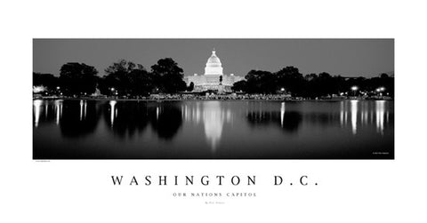 Washington DC Black-and-White US Capitol Panoramic Poster Print