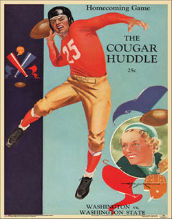 Washington State Cougars 1937 Vintage Football Program Cover Poster - Asgard Press