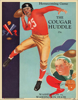 Washington State Cougars 1937 Vintage Program Poster Reprint - Asgard Press