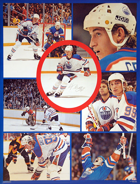 Wayne Gretzky Edmonton Oilers Vintage Original Action Collage NHL Hockey Poster - Campus Craft 1980-81