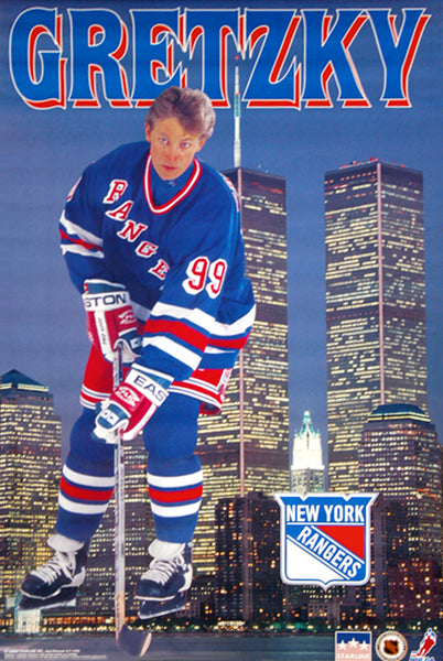 "Wayne Gretzky ""Skyline Manhattan"" New York Rangers Poster - Starline Inc. 1996"