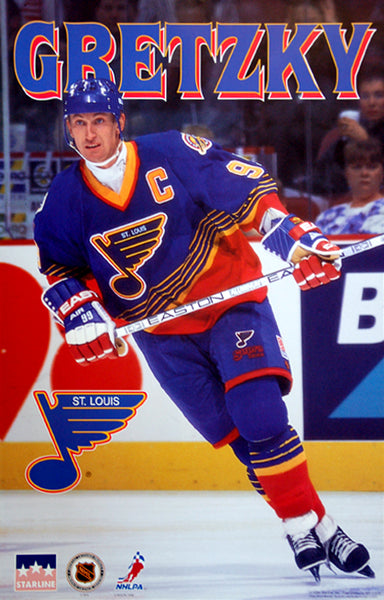 Wayne Gretzky St. Louis Blues NHL Hockey Action Poster - Starline 1996