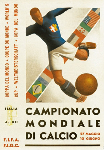 FIFA World Cup 1934 Italy Event Poster Official Archival Reprint (#0958)