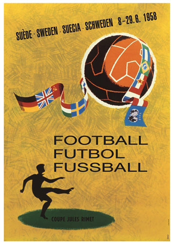 FIFA World Cup 1958 SWEDEN Event Poster Official Reprint