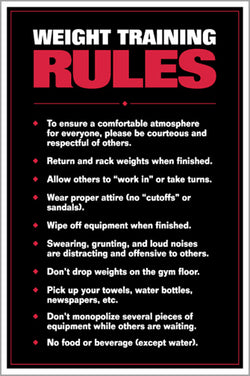 Weight Training Rules Professional Fitness Gym Wall Chart Poster - Fitnus Corp.