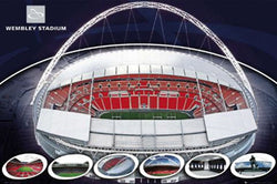 Wembley Stadium, London, England Commemorative Wall Poster - GB Eye