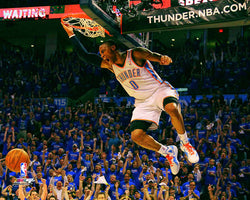 "Russell Westbrook ""Howl!"" Oklahoma City Thunder Playoff Slam Dunk Poster Print - Photofile 16x20"
