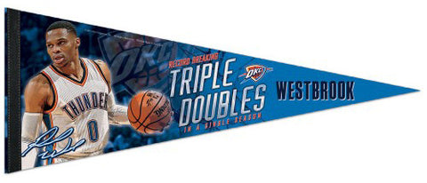 Russell Westbrook Triple-Doubles Record 2016-17 OKC Thunder Premium Felt Collector's PENNANT