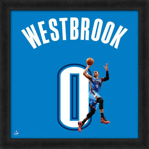 "Russell Westbrook ""Number 0"" Oklahoma City Thunder FRAMED 20x20 UNIFRAME PRINT - Photofile"