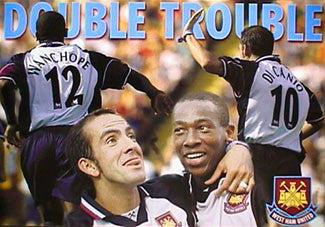 Wanchope & Di Canio DOUBLE TROUBLE West Ham Poster - UK
