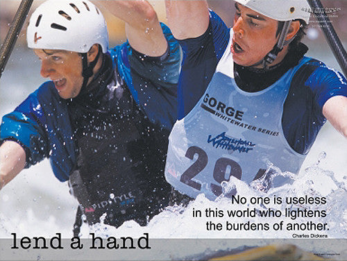 "Whitewater Rafting ""Lend A Hand"" Motivational Inspirational Poster - Jaguar Inc."