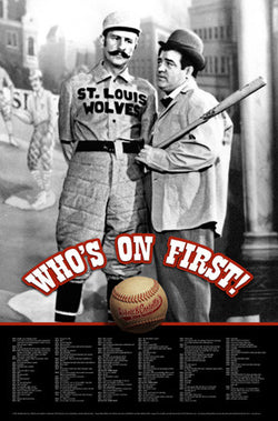 Who's On First Abbott and Costello Baseball Comedy Routine Poster- Allu