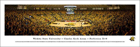 "Wichita State Shockers Basketball ""Koch Arena Game Night"" Panoramic Poster Print - Blakeway 2014"