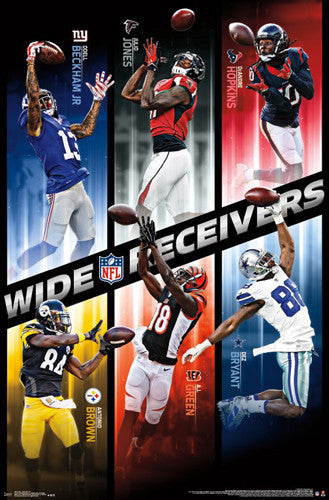 NFL Wide Receiver Superstars 2016 Poster (Beckham, Jones, Green, Bryant, Brown, Hopkins)