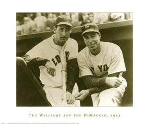 Ted Williams and Joe DiMaggio 1951 Classic Baseball Premium Poster- NYGS