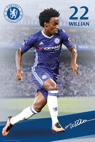 "Willian ""Signature Series"" Chelsea FC Official EPL Soccer Football Poster - GB Eye 2016/17"