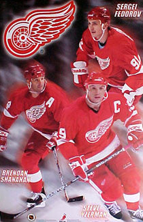 "Detroit Red Wings ""Three Stars"" Poster (Yzerman, Fedorov, Shanahan) - T.I.L. 2000"